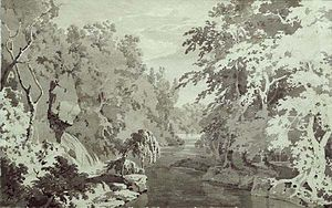 Dovedale by Moonlight - A preparatory sketch for these paintings (now in Derby Museum and Art Gallery). The unusual trees are said to be after Alexander Cozens.