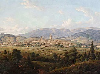 Šumperk - A View of Šumperk, painting by N. Malizius from 1864