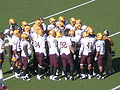 Sun Devils in huddle at ASU at Cal 10-4-08.JPG