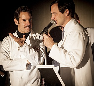 Matt Gourley - Paul F. Tompkins (left) and Matt Gourley during a live performance of Superego at the LA Podcast Festival in 2012
