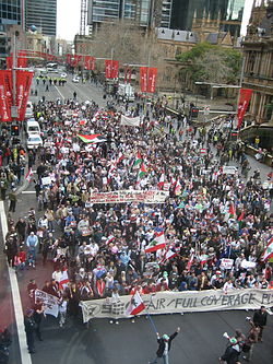 Lebanese protest in Sydney during the 2006 Israel Lebanon conflict.