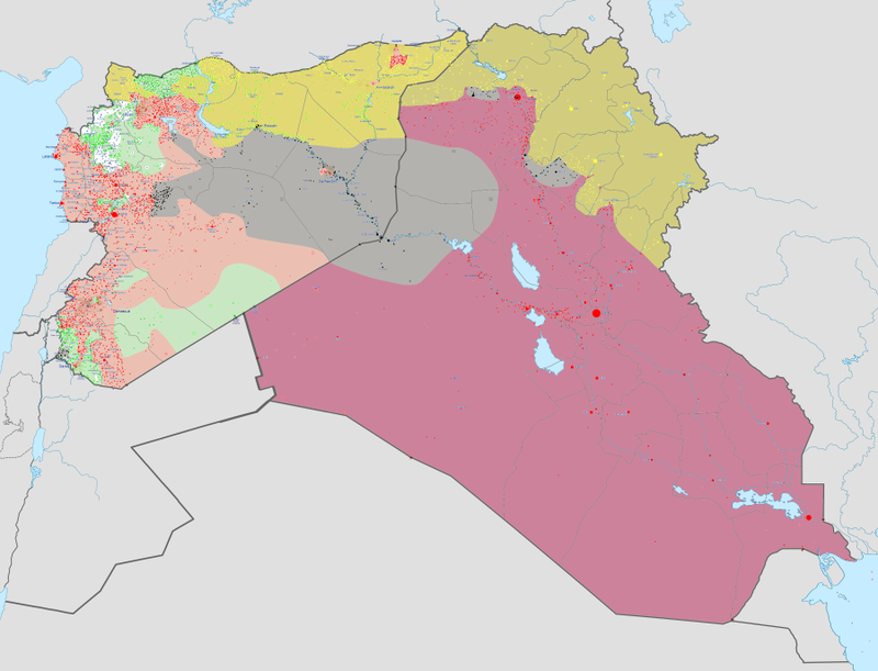 Military situation as of 8 March 2015, in Iraqi and Syrian conflicts.  Controlled by Iraqi Republic forces  Controlled by Syrian Arab Republic forces  Controlled by ISIL  Controlled by Iraqi Kurdistan forces  Controlled by Syrian Kurdish forces  Controlled by Syrian opposition forces  Controlled by al-Nusra Note: Iraq and Syria contain large desert areas with limited population. These areas are mapped as under the control of forces holding roads and towns within them. Map of the current situation in Iraqi insurgencyMap of the current military situation in Syrian WarMap of the current military situation in Libyan War