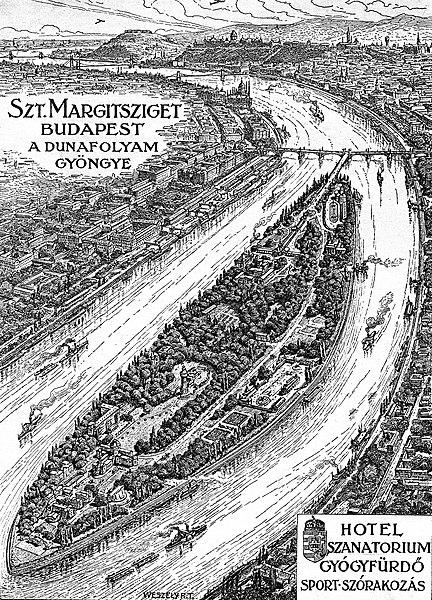 > Plan de l'île Marguerite à Budapest en 1928.