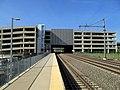 T.F. Green Airport station platform and garage, May 2017.JPG