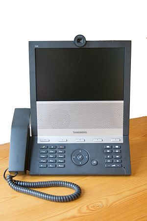 Telepresence - A Tandberg E20 high resolution videoconferencing phone meant to replace conventional desktop phones