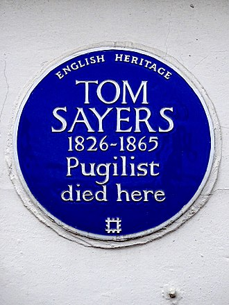 Tom Sayers - A blue English Heritage plaque marks the building where Sayers died