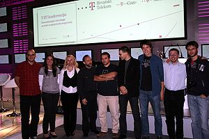 Croatian Wikipedia - Jimmy Wales and Croatian Wikipedians at a conference in Zagreb, October 1, 2008