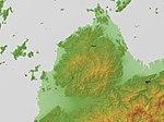 Takanawa Peninsula Relief Map, SRTM-1.jpg