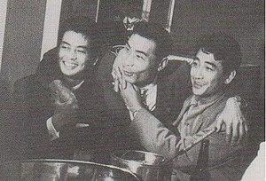 Kazuo Taoka - From left to right, Mitsuru Ono, Kazuo Taoka, Kōji Tsuruta. 1952.