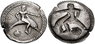Socii - Silver nomos coin issued by the Greek city of Tarentum in southern Italy, c. 500 BC. The coin is incuse i.e. reverse side is mirror image of obverse. Obverse shows hero Phalanthos riding a dolphin, the traditional symbol of the city, with legend ΤΑΡΑΣ (TARAS), the Greek name for Tarentum