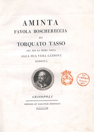 Aminta - An edition of Aminta published 1789 in Parma.