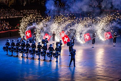 Performing at the Virginia International Tattoo in 2016 Tattoo 2016 -Top Secret Drum Corps (25989524673).jpg