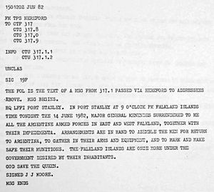 Argentine surrender in the Falklands War - Telegram from General Moore reporting the Argentine surrender.