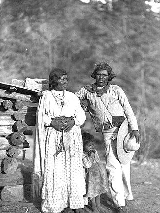 Tepehuán people - Tepehuán mother, father and child from Durango. Carl Lumholtz, 1893.