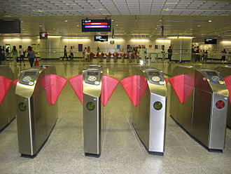 Fares and ticketing on the Mass Rapid Transit (Singapore) - A row of Third Generation Gates at Dhoby Ghaut.