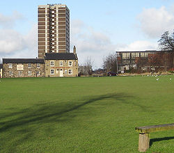View from Seacroft Village Green of the Cricketers Arms and the Queensview Flats with the shopping centre to the right.