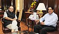 The Chairman ICICI and the President Designate BRICS Bank, Shri K.V. Kamath calls on the Union Minister for Finance, Corporate Affairs and Information & Broadcasting, Shri Arun Jaitley, in New Delhi on May 18, 2015.jpg