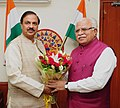The Chief Minister of Haryana, Shri Manohar Lal Khattar calling on the Minister of State for Culture and Tourism (Independent Charge), Dr. Mahesh Sharma, in New Delhi on June 02, 2017.jpg