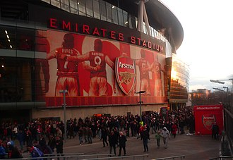 Emirates Stadium - One of the murals installed on the stadium as a result of the Arsenalisation project.