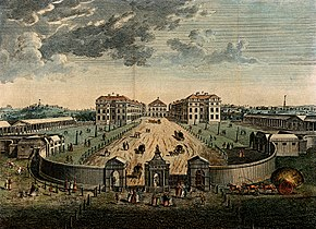 A bird's-eye view of the Foundling Hospital courtyard. Coloured engraving after L. P. Boitard, 1753.