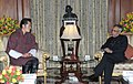 The King of Bhutan, His Majesty Jigme Khesar Namgyel Wangchuck meeting the President, Shri Pranab Mukherjee, at Rashtrapati Bhavan, in New Delhi on January 25, 2013.jpg