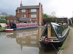 Hinckley - The canalside pub, The Lime Kilns, nr. Hinckley stands at the point where the Ashby Canal is crossed by the A5