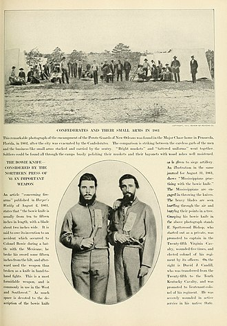 Bowie knife - Two members of the 25th Va Cavalry armed with Bowie knives: left Captain E. Spootswood Bishop;  right Daniel Caudill served with the 25th Virgnina Cavalry and the 10th Kentucky Cavalry