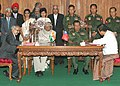 The President, Dr. A.P.J. Abdul Kalam and the Senior General Than Shwe witnessing the signing of agreement on Petroleum sector between Myanmar and India at the Parliament House in Yangon, Myanmar on March 9, 2006.jpg