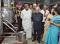 The President, Shri Pranab Mukherjee visiting the Adamya Chetana-Midday Meal Kitchen for over one lakh children, at Bengaluru.jpg