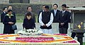 The President of the Republic of Korea, Ms. Park Geun-hye laying wreath at the Samadhi of Mahatma Gandhi, at Rajghat, in Delhi on January 17, 2014. The Minister of State for External Affairs, Smt. Preneet Kaur is also seen.jpg