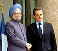 The Prime Minister, Dr. Manmohan Singh meeting with the President of France, Mr. Nicolas Sarkozy, at Elysee Palace, in Paris on September 30, 2008.jpg