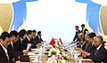 The Prime Minister, Dr. Manmohan Singh with the Chinese Premier, Mr. Wen Jiabao, at the delegation level talks, on the sidelines of 7th India-ASEAN Summit, in Thailand, on October 24, 2009.jpg