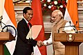 The Prime Minister, Shri Narendra Modi and the President of Indonesia, Mr. Joko Widodo at the Joint Press Statement, at Hyderabad House, in New Delhi on December 12, 2016 (1).jpg