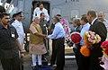 The Prime Minister, Shri Narendra Modi being received by the ISRO Chairman, Dr. K. Radhakrishnan on his arrival, at Sriharikota, in Andhra Pradesh on June 29, 2014.jpg