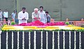 The Vice President, Shri Mohd. Hamid Ansari paying floral tribute at the Samadhi of former Prime Minister late Shri Chandra Shekhar on his 6th death anniversary at Smriti Sthal, in Delhi on July 08, 2013.jpg