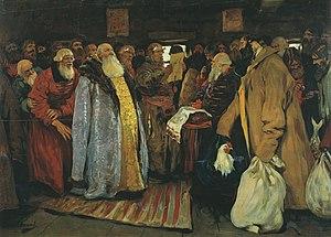 "Voivode - ""The Voyevoda Arrives to a Provincial Town"", by Sergei Vasilievich Ivanov (1864–1910)"
