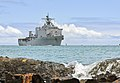 The amphibious dock landing ship USS Rushmore (LSD 47) approaches Joint Base Pearl Harbor-Hickam, Hawaii, June 27, 2014, to participate in Rim of the Pacific (RIMPAC) 2014 140627-N-WF272-041.jpg