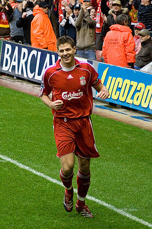 Captain (sports) - Steven Gerrard, former captain of Liverpool F.C. and England.