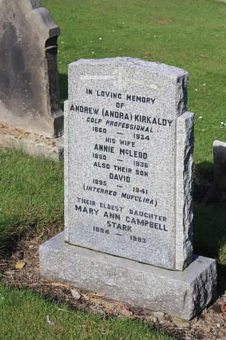 Andrew Kirkaldy (golfer) - The grave of Andrew Kirkaldy, Eastern Cemetery, St Andrews