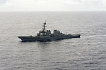 The guided missile destroyer USS Cole (DDG 67) transits the Atlantic Ocean March 19, 2014, in support of exercise Joint Warrior 14-1 140319-N-WX580-182.jpg