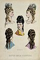 The heads of five women with their hair combed back and dres Wellcome V0019887ER.jpg