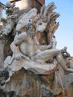 The river-god Ganges by Gianlorenzo Bernini (1651), from the Fontana dei Quattro Fiumi in Rome.jpg