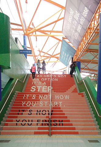 Bukit Jalil LRT station - The staircase and the roof, amongst many other parts of the station, are decorated with inspirational quotes.
