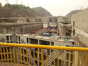 Lock (water navigation) - Three Gorges Dam lock near Yichang on Yangtze river, China