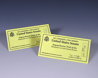 Impeachment of Bill Clinton - Two tickets for Bill Clinton's impeachment trial, January 14–15, 1999