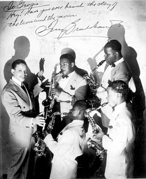 Tiny Bradshaw - Tiny and saxophone players from his band, 1934.