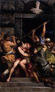 Toile montrant des hommes qui enfoncent une couronne d'épines sur la tête d'un autre.
