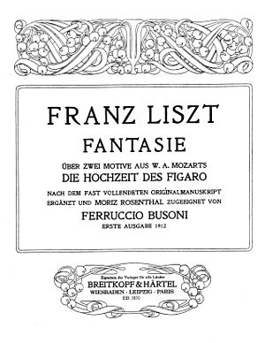 Fantasy on Themes from Mozart's Figaro and Don Giovanni - Title page of Busoni's version