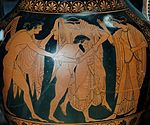 The Rape of Leto by Tityos ca. 515 BC. From Vulci. Leto is third from left.