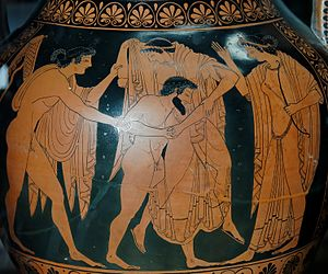 Phintias (painter) - The rape of Leto by Tityos, side A from an amphora by Phintias, ca. 515 BC, Louvre.